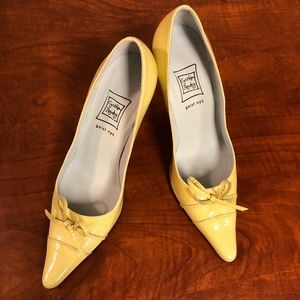 Cynthia Rowley Yellow Patent Leather Heel with Bow